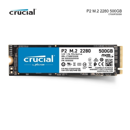 Picture of M.2 SSD Hard Drive Crucial P2CT500P2SSD8 500GB PCI Gen3 X4